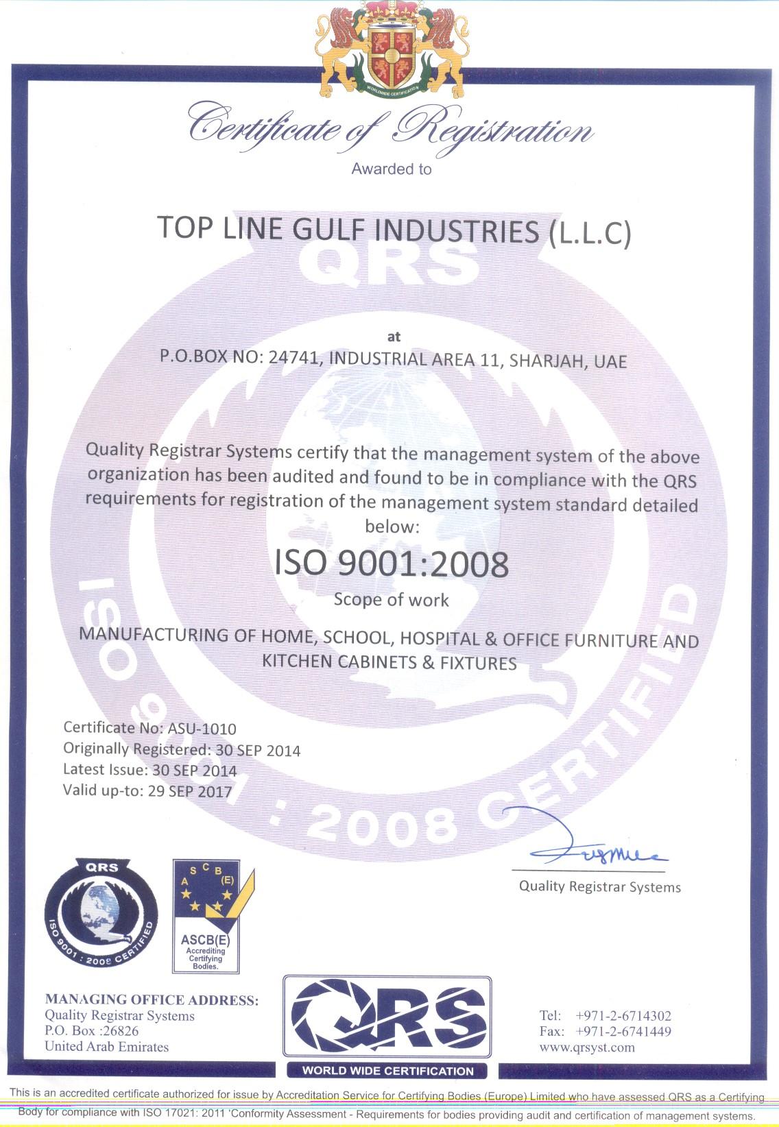 Certificates Toplinefurniture